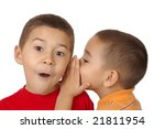 kids whispering a secret, 5 and 6 years old - stock photo