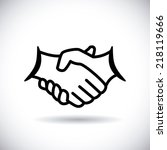 handshake design over white ... | Shutterstock .eps vector #218119666