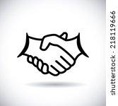 handshake design over white ... | Shutterstock .eps vector #218119666