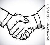 handshake  design over white... | Shutterstock .eps vector #218119720