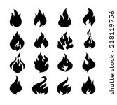 fire flames  set icons. vector... | Shutterstock .eps vector #218119756