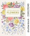 vertical invitation. vintage... | Shutterstock .eps vector #218125240