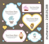 frames with cupcakes | Shutterstock .eps vector #218131288