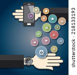 smartwatch with colorful... | Shutterstock .eps vector #218133193