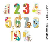 colorful kids counting numbers... | Shutterstock .eps vector #218133544