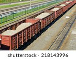 rail freight wagons with sand | Shutterstock . vector #218143996