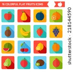 fruits flat icon set. colorful... | Shutterstock .eps vector #218144590