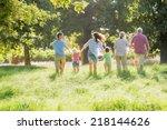 multi generation family... | Shutterstock . vector #218144626