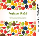fruits background in flat style.... | Shutterstock .eps vector #218144773
