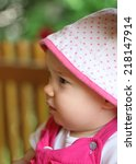 profile of cute child outdoor | Shutterstock . vector #218147914