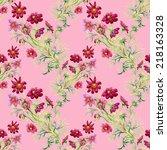 wild flowers seamless pattern... | Shutterstock . vector #218163328