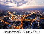 bird view of urban city traffic ... | Shutterstock . vector #218177710
