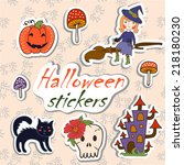 set of illustrations for... | Shutterstock .eps vector #218180230