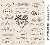vector set of calligraphic...   Shutterstock .eps vector #218184748
