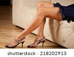 perfect female legs wearing... | Shutterstock . vector #218202913