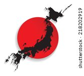 Map Of Japan With The Flag...
