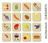bbq icons | Shutterstock .eps vector #218204074