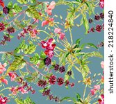 floral seamless pattern with... | Shutterstock .eps vector #218224840