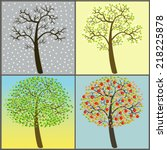 trees collection   four seasons | Shutterstock . vector #218225878