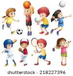 illustration of many children... | Shutterstock .eps vector #218227396