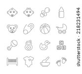 baby line icons   Shutterstock .eps vector #218231494