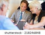 businesspeople having meeting... | Shutterstock . vector #218246848
