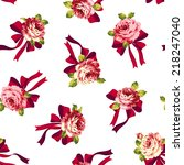 rose and ribbon pattern  | Shutterstock .eps vector #218247040
