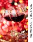 red wine in wineglasses ... | Shutterstock . vector #218247736