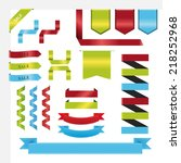 flat big ribbons set vector in... | Shutterstock .eps vector #218252968