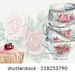 tea time card. cup and cake.... | Shutterstock . vector #218253790