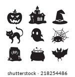 halloween icons set   black...   Shutterstock .eps vector #218254486