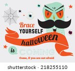 bright trick or treat card in... | Shutterstock .eps vector #218255110