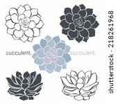Graphic Set With Succulents ...