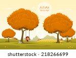 cheerful children play outdoors....   Shutterstock .eps vector #218266699
