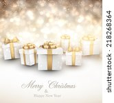 golden winter background.... | Shutterstock .eps vector #218268364