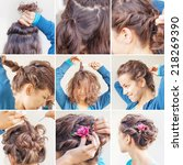 twisted hairdo tutorial by... | Shutterstock . vector #218269390