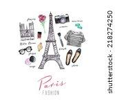 paris watercolor fashion... | Shutterstock . vector #218274250