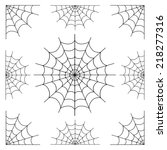 set of spiderweb black isolated ... | Shutterstock .eps vector #218277316