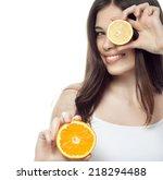 closeup portrait of attractive  ... | Shutterstock . vector #218294488