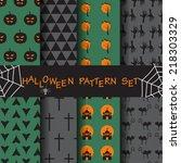 different halloween seamless... | Shutterstock .eps vector #218303329