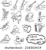 hand drawn set of musical... | Shutterstock .eps vector #218303419
