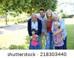 portrait of happy family at... | Shutterstock . vector #218303440