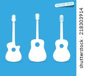 acoustic guitar vector sign... | Shutterstock .eps vector #218303914