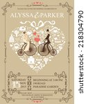 cute wedding invitation design... | Shutterstock .eps vector #218304790