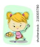 vector of girl cartoon   Shutterstock .eps vector #218305780