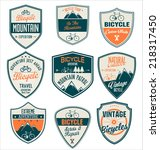bicycle retro vintage badge... | Shutterstock .eps vector #218317450