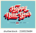 vintage new year's eve card  ... | Shutterstock .eps vector #218323684