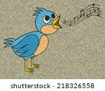 singing bird relief painting on ... | Shutterstock . vector #218326558