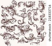 vector set of calligraphic... | Shutterstock .eps vector #218333716