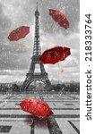 Eiffel Tower Flying Umbrellas Black - Fine Art prints